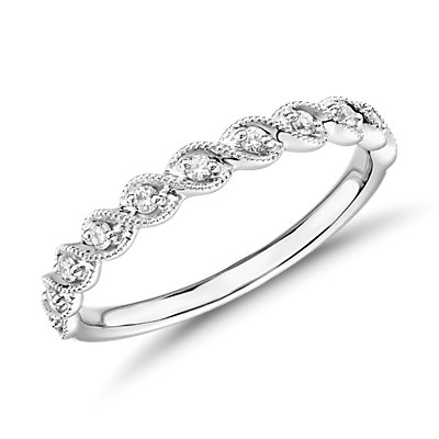 14k 白金 ZAC Zac Posen 锯状滚边绳状扭纹钻石戒指<br>(1/8 克拉总重量)