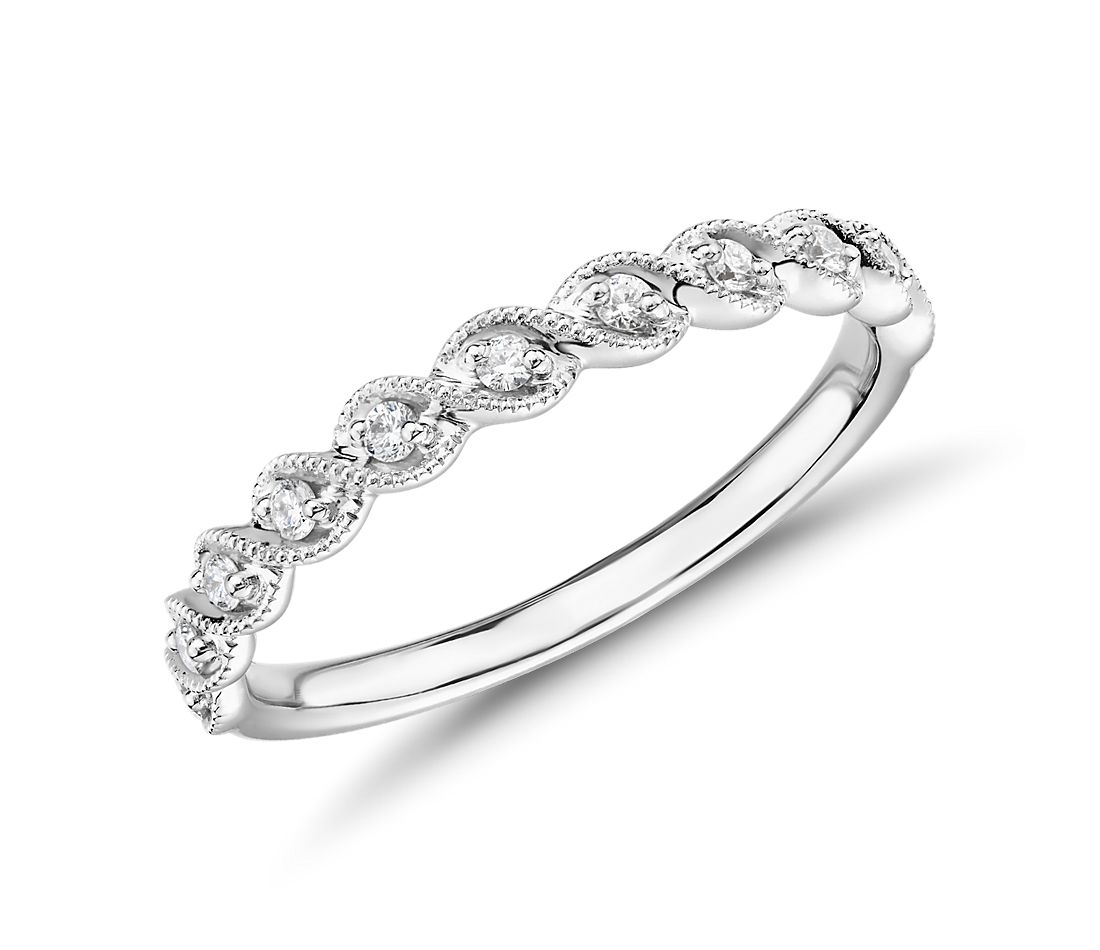 Truly Zac Posen Milgrain Rope Twist Diamond Ring in 14k White Gold (1/8 ct. tw.)