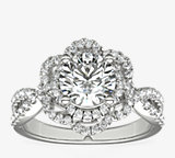 14k 白金ZAC Zac Posen 開口花邊花卉扭結鑽石訂婚戒指(3/8 克拉總重量)