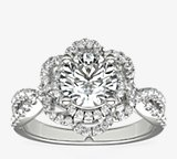 ZAC Zac Posen Open Lace Floral Twist Diamond Engagement Ring