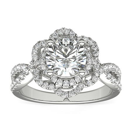 Truly Zac Posen Open Lace Floral Twist Diamond Engagement Ring in 14k White Gold (2/5 ct. tw.)