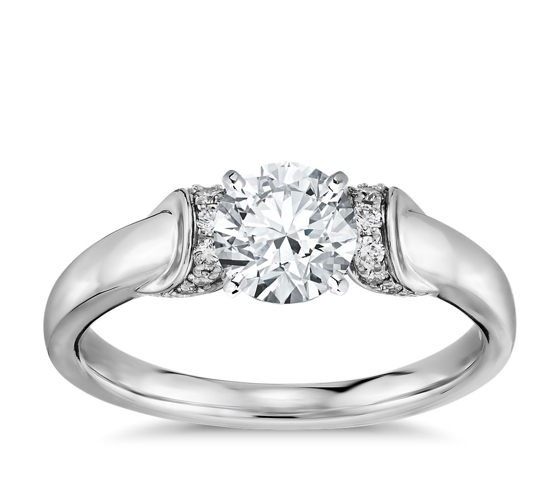 Truly Zac Posen Ribbon Diamond Engagement Ring In Platinum