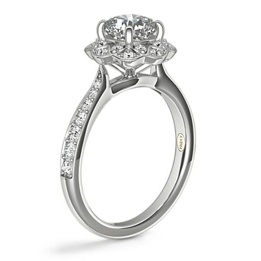 ZAC Zac Posen Scalloped Floral Halo Diamond Engagement Ring