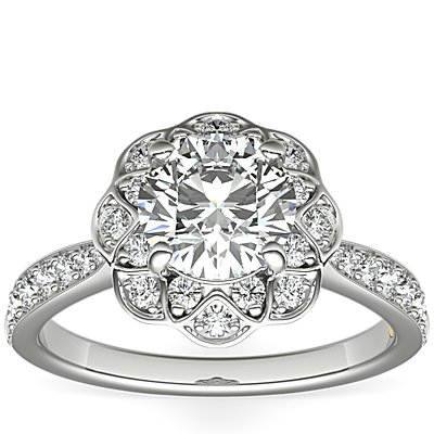 ZAC Zac Posen Scalloped Floral Halo Diamond Engagement Ring in 14k White Gold (3/8 ct. tw.)