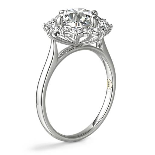 ZAC Zac Posen East-West Simple Halo Diamond Engagement Ring