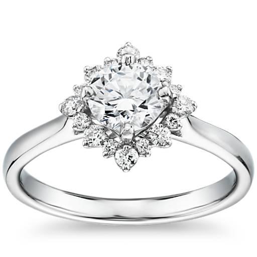 Engagement Rings Zac Posen: Truly Zac Posen East-West Simple Halo Diamond Engagement