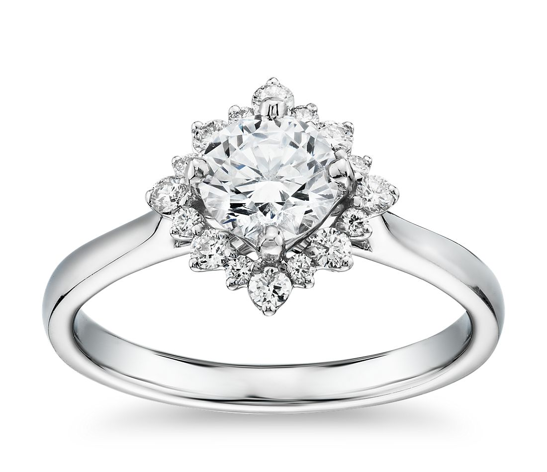 Truly Zac Posen East-West Simple Halo Diamond Engagement Ring in 14k White Gold