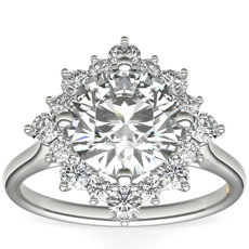 ZAC Zac Posen East-West Simple Halo Diamond Engagement Ring in 14k White Gold