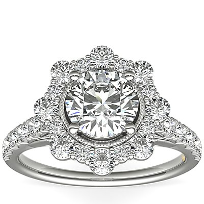 ZAC Zac Posen Star Halo Diamond Engagement Ring in 14k White Gold (3/4 ct. tw.)