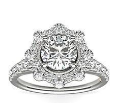 ZAC Zac Posen Star Halo Diamond Engagement Ring in 14k White Gold (3/4 ct. tw.)