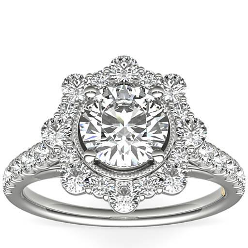 Engagement Rings Zac Posen: ZAC Zac Posen Star Halo Diamond Engagement Ring In 14k