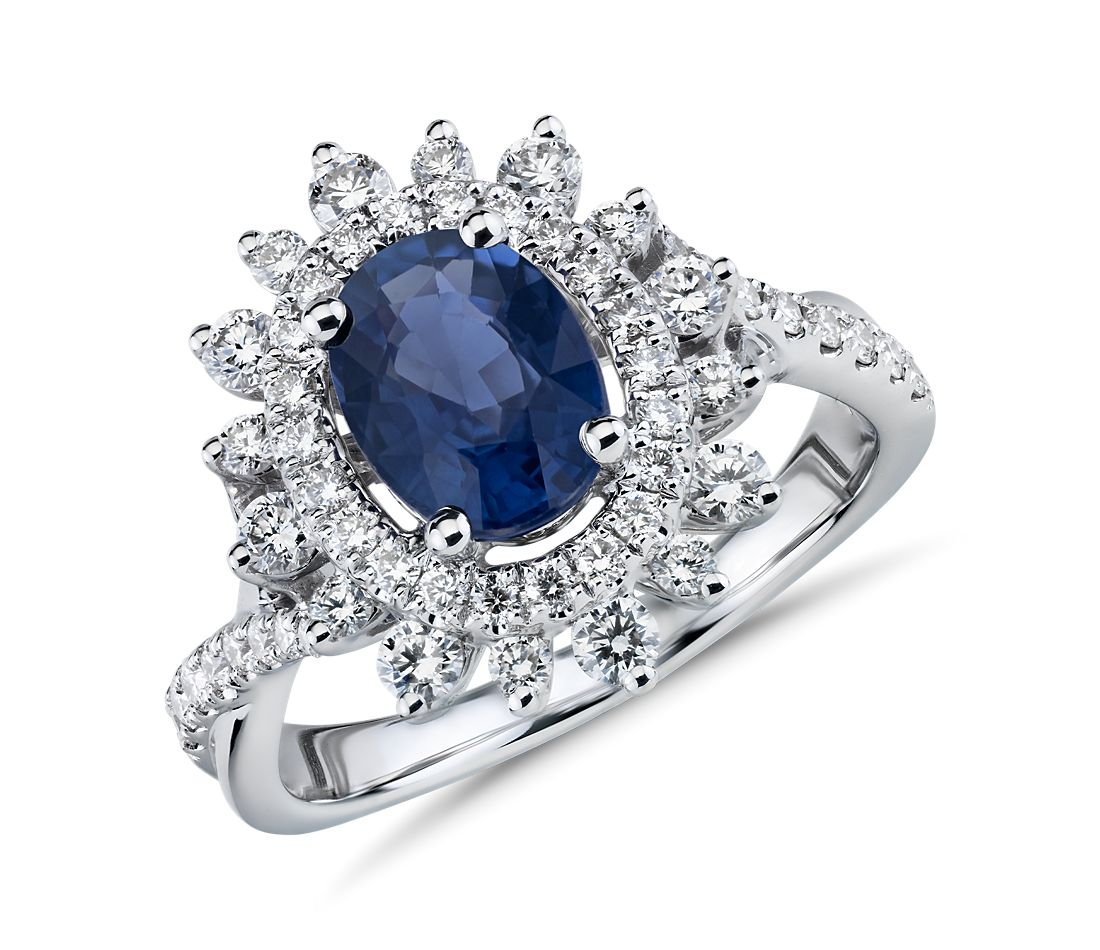 Truly Zac Posen Sunburst Oval Sapphire and Diamond Halo Ring in 14k White Gold (8x6mm)