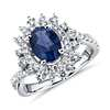 Sunburst Oval Sapphire and Diamond Halo Ring in 14k White Gold (8x6mm)