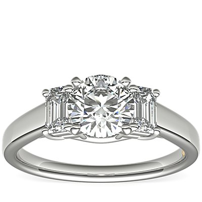ZAC Zac Posen Three-Stone Emerald-Cut Diamond Engagement Ring in Platinum (1/3 ct tw.)