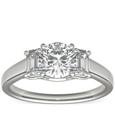 ZAC Zac Posen Three-Stone Emerald-Cut Diamond Engagement Ring in Platinum (0.36 ct. tw.)