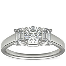 ZAC Zac Posen Three-Stone Emerald-Cut Diamond Engagement Ring in Platinum (1/3 ct tw.)
