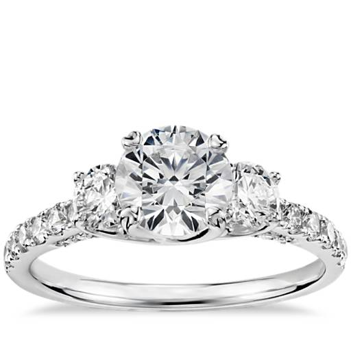 Truly Zac Posen Three Stone Trellis Diamond Engagement