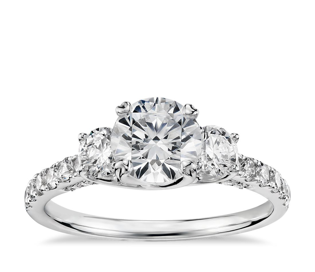 Engagement Rings No Stone: Truly Zac Posen Three-Stone Trellis Diamond Engagement