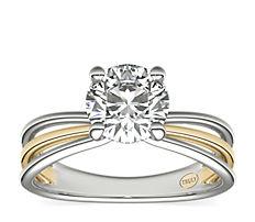 14k 白金和黃金ZAC Zac Posen 三環單鑽石訂婚戒指