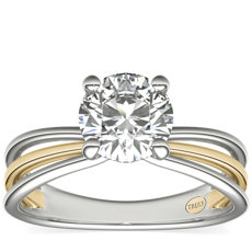 ZAC Zac Posen Triple Band Solitaire Diamond Engagement Ring in 14k White and Yellow Gold
