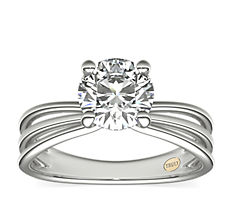 ZAC Zac Posen Triple Band Solitaire Diamond Engagement Ring in Platinum