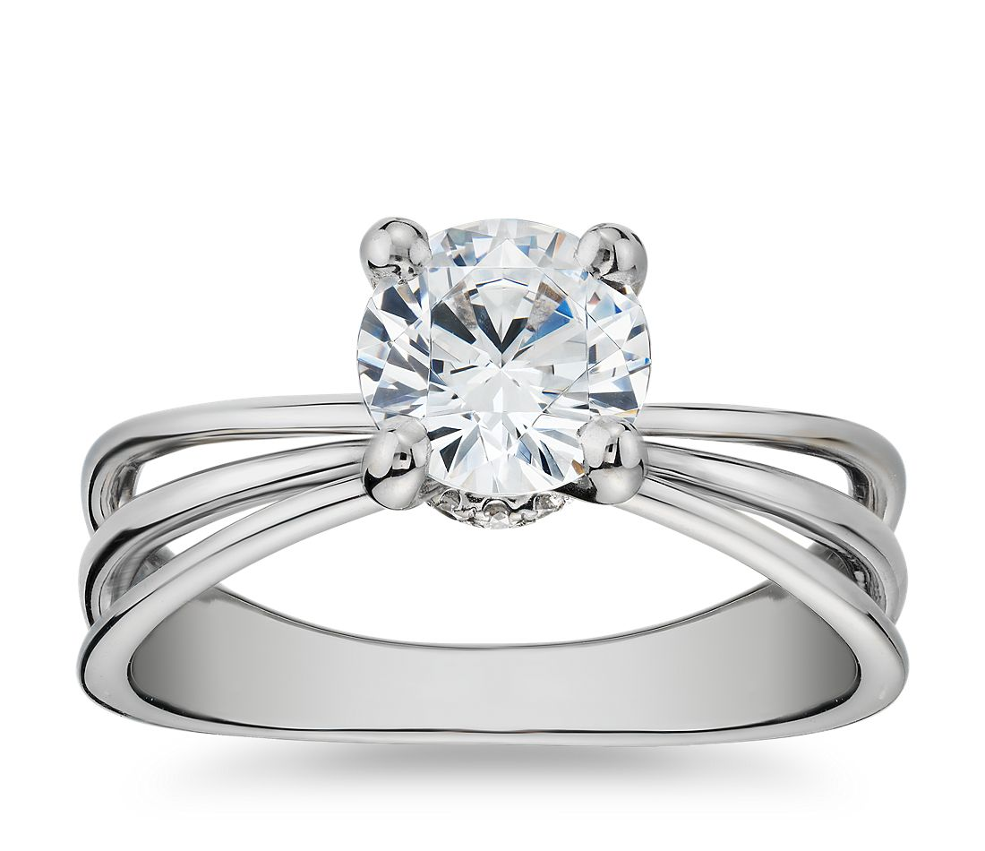 Truly Zac Posen Triple Band Solitaire Diamond Engagement Ring In Platinum