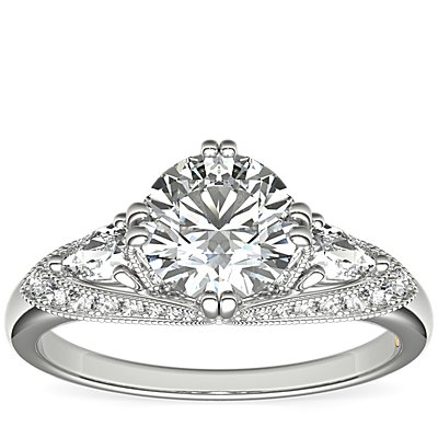 ZAC Zac Posen Vintage Three-Stone Diamond Engagement Ring in 14k White Gold (0.54 ct. tw.)