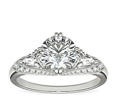 ZAC Zac Posen Vintage Three-Stone Diamond Engagement Ring in 14k White Gold (1/2 ct. tw.)