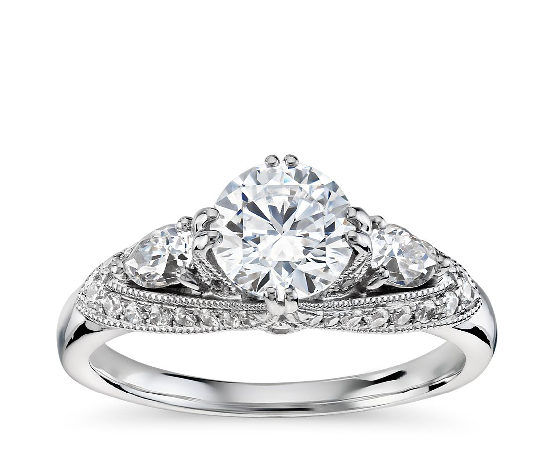 truly zac posen vintage three stone diamond engagement ring in 14k white gold 12 ct tw - Three Stone Wedding Rings