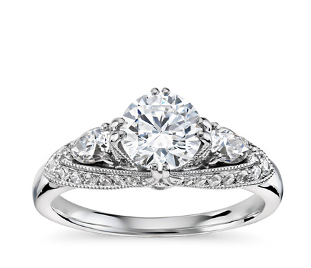 engagement with stone side pear diamond three ring round shape diamonds cut