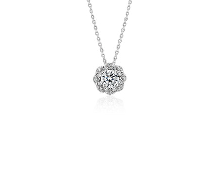 Truly Zac Pozen Scalloped Floral Halo Diamond Pendant in 14K White Gold (1/2 ct. tw.)