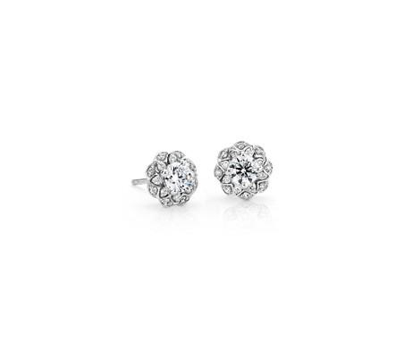 14k 白金 Truly Zac Pozen 扇状花朵光环钻石耳钉<br>(2/3 克拉总重量)