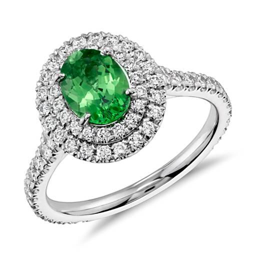 Tsavorite Garnet And Diamond Double Halo Ring In 18k White