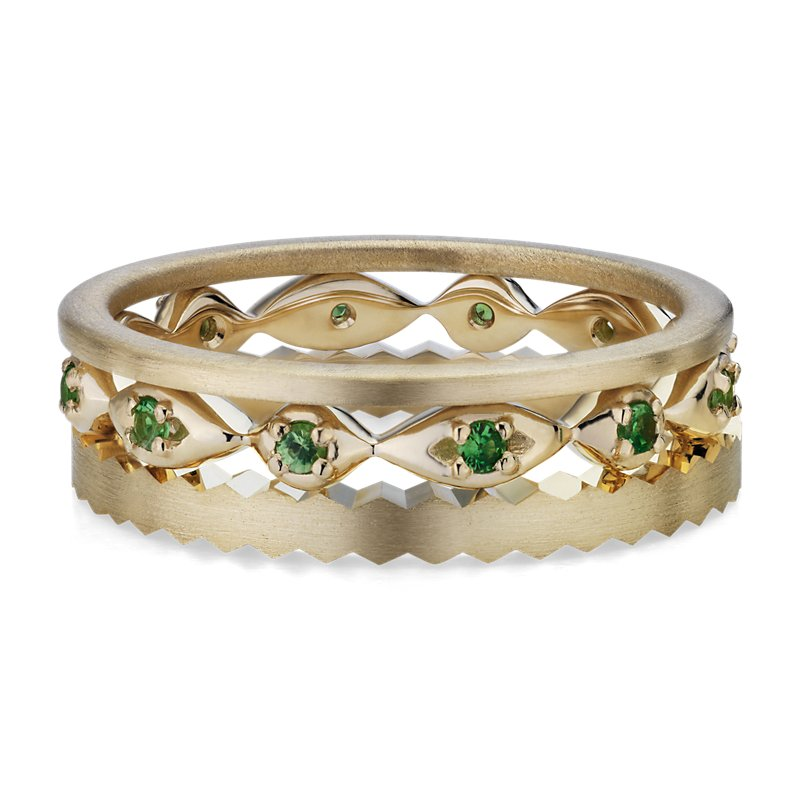 Tsavorite Ring Stack in 14k Yellow Gold (1.4mm)