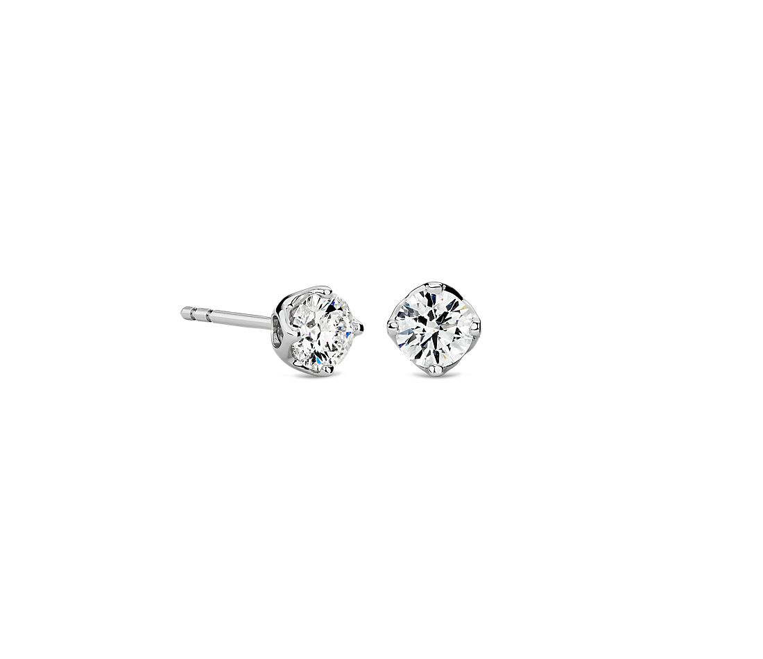Tulip Stud Earring in 18K White Gold (1 ct. tw.)