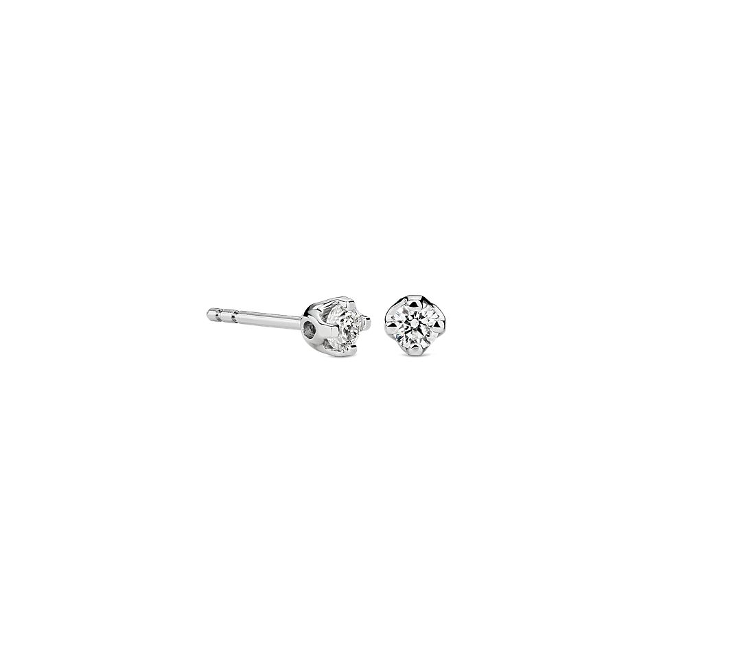 Tulip Diamond Stud Earring in 18K White Gold (1/4 ct. tw.)