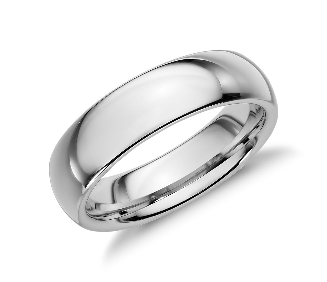 Comfort Fit Wedding Ring In White Tungsten Carbide 6mm Blue Nile