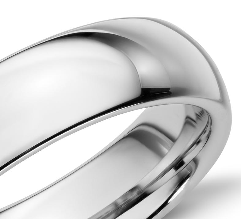 白色碳化钨内圈圆弧设计结婚戒指(6毫米)
