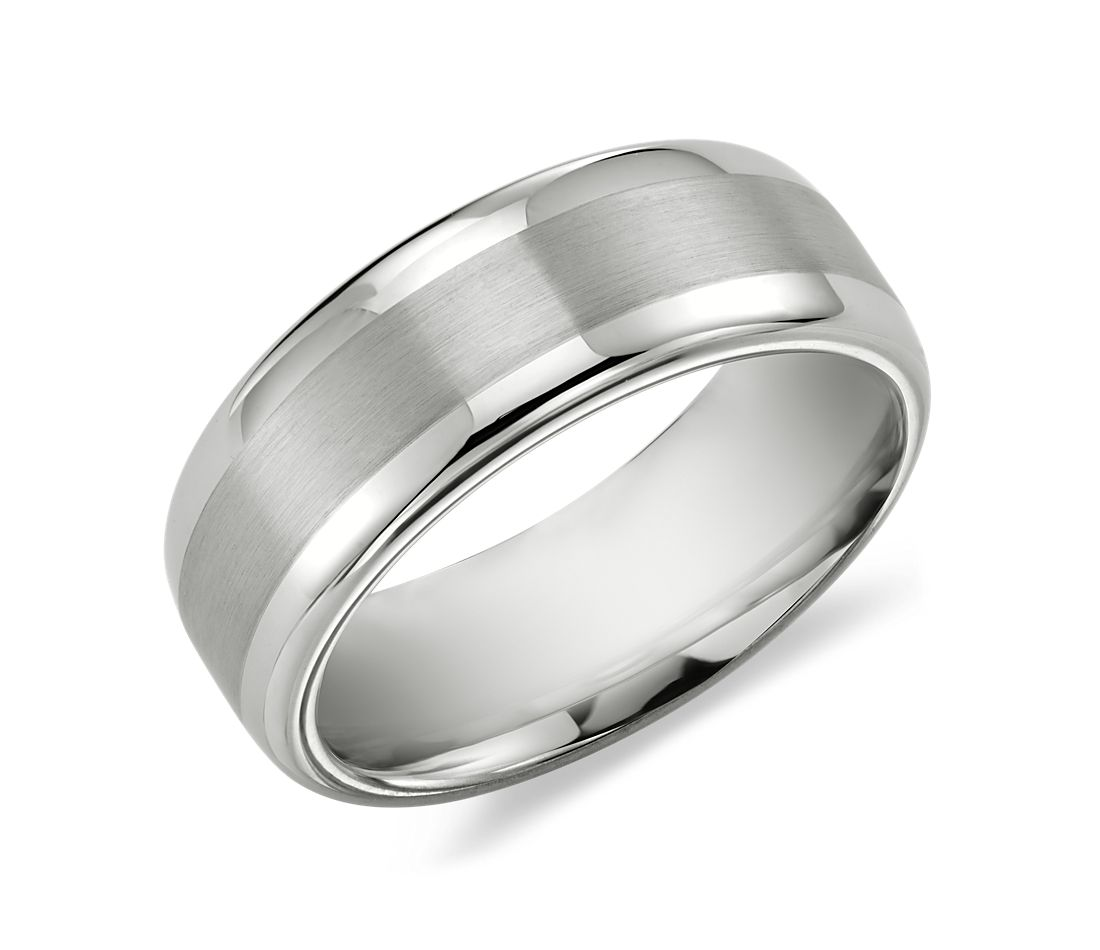 Brushed Inlay Comfort Fit Wedding Ring in White Tungsten Carbide (8mm)