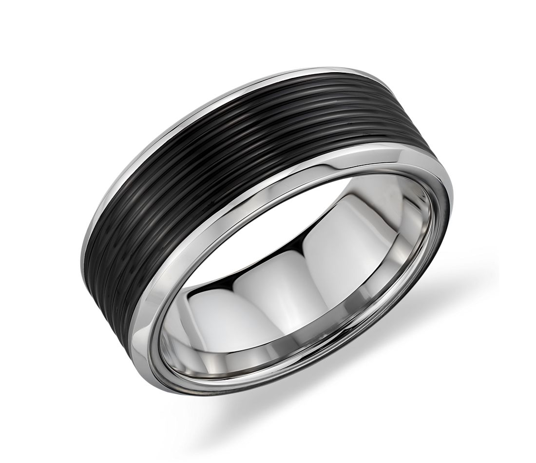 Ridged Wedding Ring in Black and Gray Tungsten Carbide