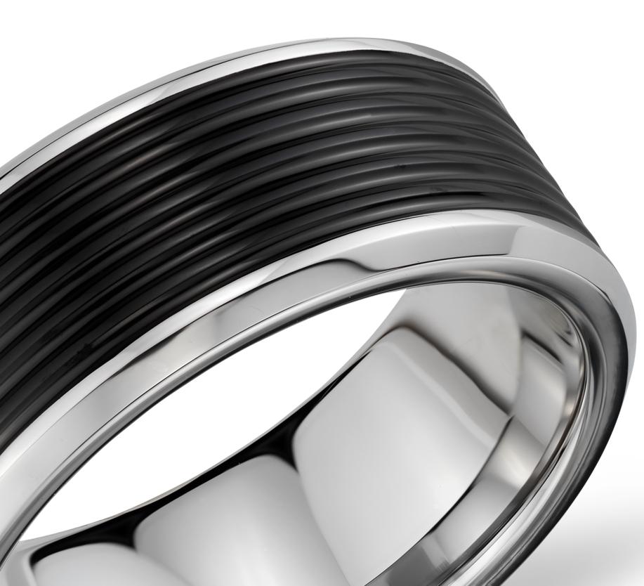 Ridged Wedding Ring in Black and Gray Tungsten Carbide