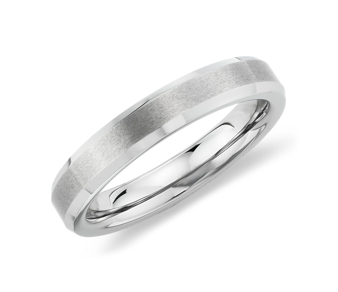 Beveled Edge Matte Wedding Ring in White Tungsten Carbide (4mm)