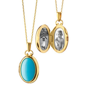 Monica Rich Kosann Petite Turquoise and Mother of Pearl Locket in 18k Yellow Gold