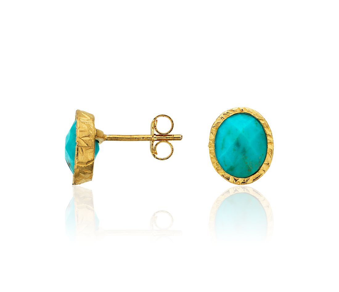 Turquoise Stud Earrings in Gold Vermeil