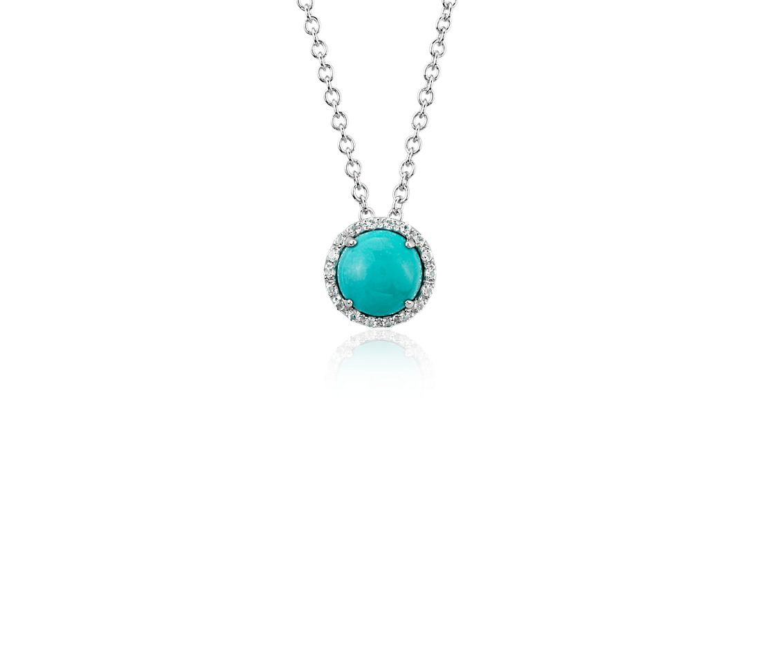 Natural Turquoise and White Topaz Button Pendant in 14k White Gold (7mm)