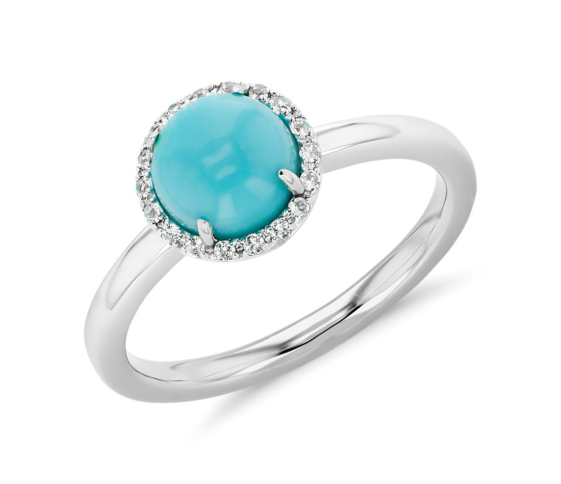 Natural Turquoise and White Topaz Halo Button Ring in 14k White Gold (7mm)