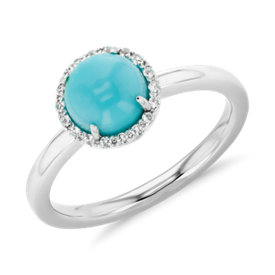 NEW Natural Turquoise and White Topaz Button Ring in 14k White Gold (7mm)