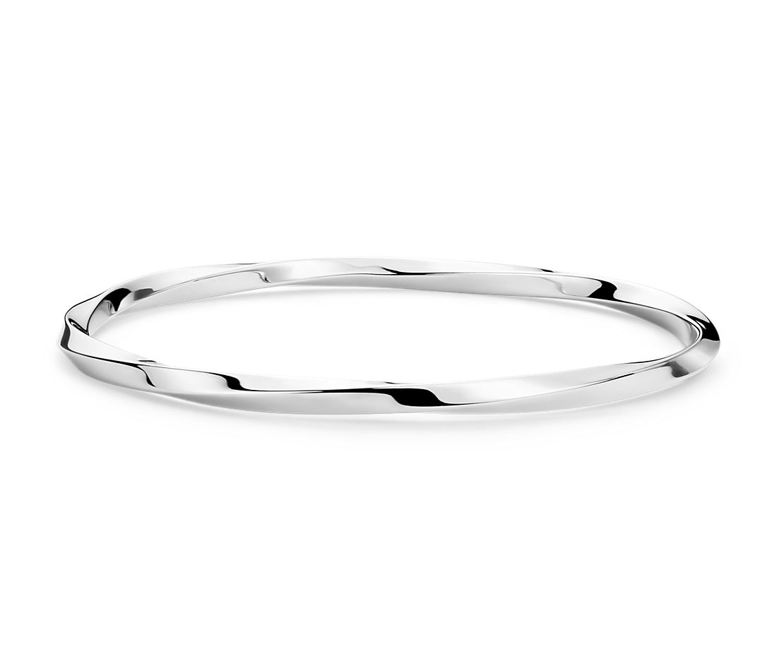 Twist Bangle Bracelet in Sterling Silver