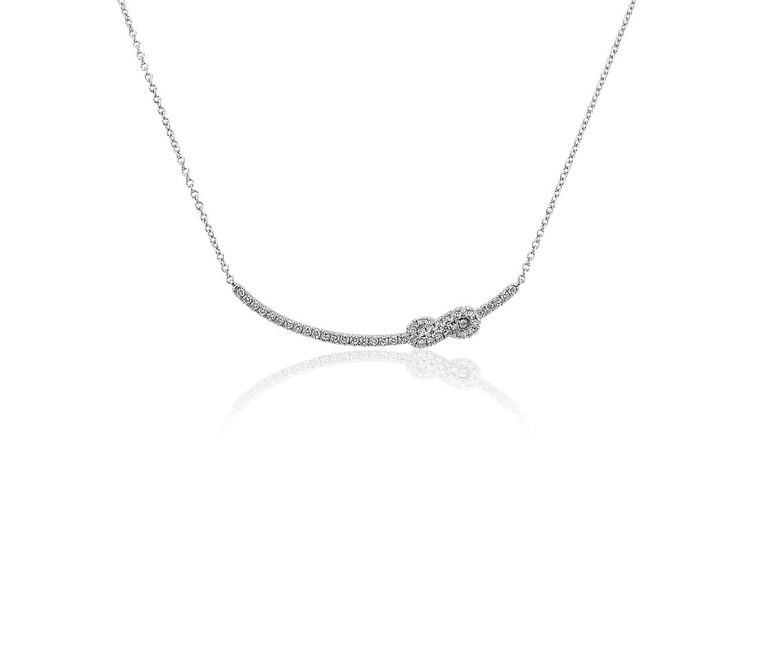 Twist Curved Bar Necklace in 14k White Gold (1/3 ct. tw.)