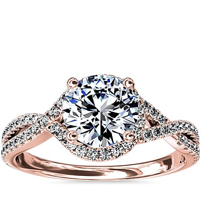 Twisted Halo Diamond Engagement Ring in 14k Rose Gold (1/3 ct tw.)